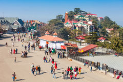 Ridge road, Shimla. SHIMLA, INDIA - NOVEMBER 05, 2015: The Ridge road is a large open space, located in the heart of Shimla, the capital city of Himachal Pradesh Royalty Free Stock Image