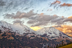 Ridge in swiss highland in winter evening Royalty Free Stock Images