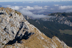 On the ridge. Walking on the ridge of the Piatra Craiului mountains in Romania Stock Image
