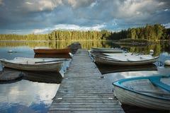 Ridged boats. Boats on the lake i national park Fornebofjorden in Sweden Stock Image