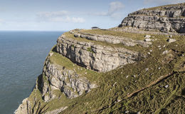 Ridged cliffs on the Great Orme on Llandudno, Wales in the UK. Stock Photo
