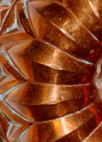 Ridged copper pattern. Pattern on antique copper cookery pan mould mold Stock Images