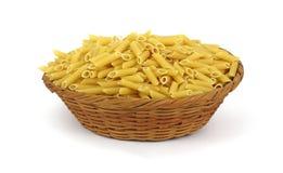Ridged Hollow Pasta Basket Overhead View. A full basket of ridged hollow pasta Royalty Free Stock Photos