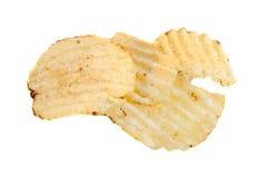 Ridged Potato Chips, isolated. On a white background Royalty Free Stock Photo