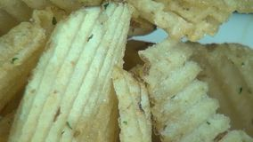 Ridged Potato Chips, Ruffles, Snack Foods stock footage