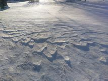 Ridges in the snow on Christmas morning. In western Indiana Stock Image