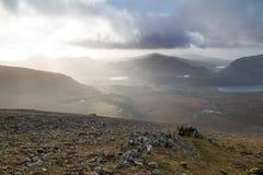 Ridges and Sun. Snowdonia from mount Snowdon, UK Royalty Free Stock Photo