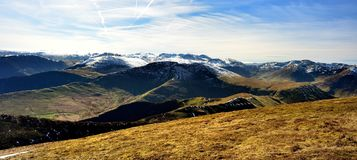 The ridges and valleys of the Cumbrian Mountains. Early Spring on the Derwent Fells Royalty Free Stock Photo
