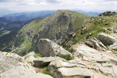 Ridgeway van Chopok om Dumbier, Nizke Tatry, Lage Lagere Tatra, nationaal park op te zetten royalty-vrije stock afbeeldingen