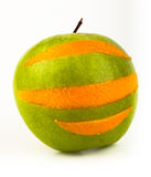 Ridiculous apple with an orange peel Royalty Free Stock Photo