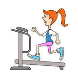 Ridiculous caricature, the girl on a racetrack occupation in fitness club, a vector illustration. Royalty Free Stock Photo
