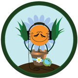 The ridiculous chamomile listens to music Stock Image
