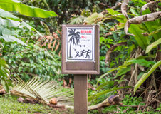 Ridiculous warning sign for falling coconuts Royalty Free Stock Photography