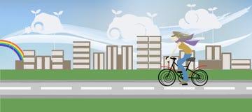 riding девушки велосипеда Стоковые Изображения RF