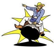 riding ковбоя быка иллюстрация вектора