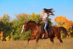 riding лошади девушки Стоковые Фотографии RF