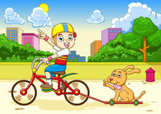 riding собаки мальчика Стоковые Фото