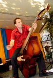 Riding the Acoustic Standup Double Bass Stock Photo