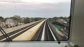 Riding AirTrain to JFK stock footage