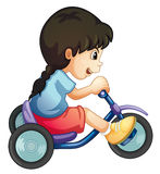 Riding along. Illustration of a child riding a bicycle on white Royalty Free Stock Photography