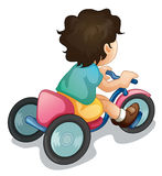 Riding along. Illustration of a child riding a bicycle on white Stock Image