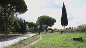 Riding on the Appian Way stock footage