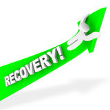 Riding the Arrow of Recovery. A figure rides a green arrow up symbolizing economic recovery Royalty Free Stock Photos