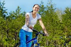 Riding a bicycle Stock Photo