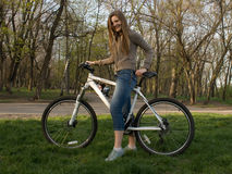 Riding a bicycle Stock Image