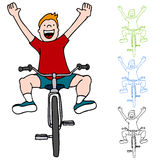 Riding Bicycle Without Hands. An image of a kid riding a bicycle without using his hands stock illustration