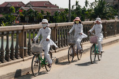 Riding bicycle in Hoi An, Vietnam Royalty Free Stock Photos