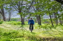 Riding bicycle. In the park with helmet, during spring Stock Image