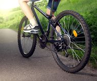 Riding a bicycle on the road summer sunlit.  royalty free stock photo