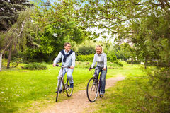 Riding bicycle royalty free stock photography
