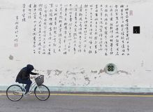 Riding a bicycle in a street of Malacca. A girl riding her bicycle in a street with background of chinese fonts Royalty Free Stock Image