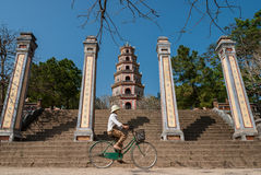 Riding a bicycle in Vietnam stock photos