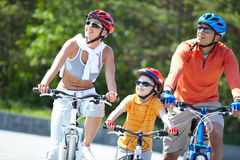 Riding on bicycles Stock Photo