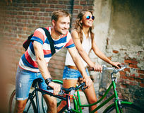 Riding bicycles Stock Image