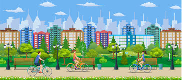 Riding Bicycles In Public Park. Vector illustration in flat design Royalty Free Stock Image