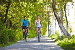 Riding bicycles Stock Photography