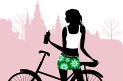 Riding a bike. All elements and textures are individual objects. Vector illustration scale to any size Stock Images