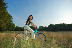 Riding a bike stock photos