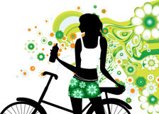 Riding a bike. All elements and textures are individual objects. Vector illustration scale to any size Stock Image