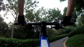 Riding bike on bicycle path in park. Woman riding bike on bicycle path in park stock video footage