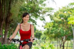 Riding on bike Stock Image