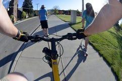 Riding Bike Fisheye View pov biking in park  kids Stock Photo