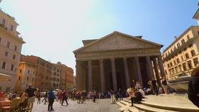 Riding a bike in front of Pantheon in Rome pov FDV stock video footage