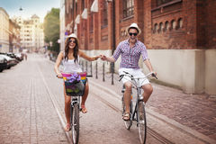 Riding on bike Stock Photography