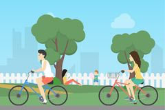 Riding at the park. vector illustration