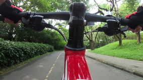Riding bike in park stock footage